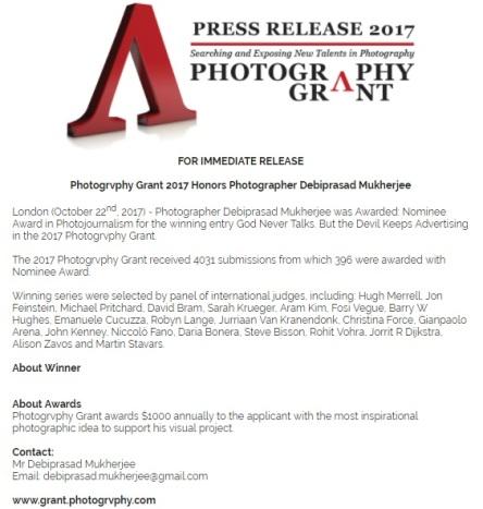 Press Release PhotoGrant
